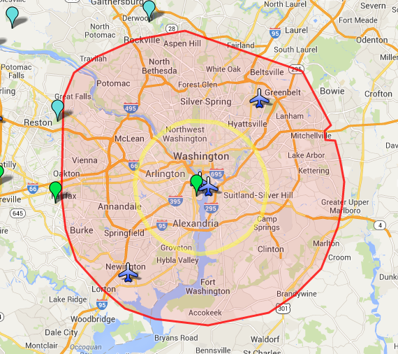 AROUND WASHINGTON DC New Media Systems Inc The Aerial - Us no fly zones map